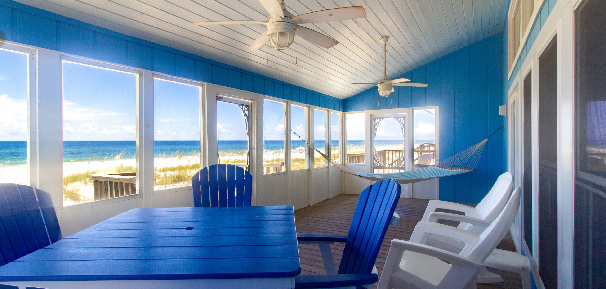 The view from the Beach facing porch at Change of Pace, a beautiful 6 bedroom gulf front home in Gulf Shores Alabama